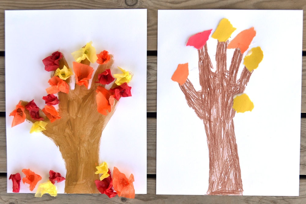 Two fall hand print crafts.
